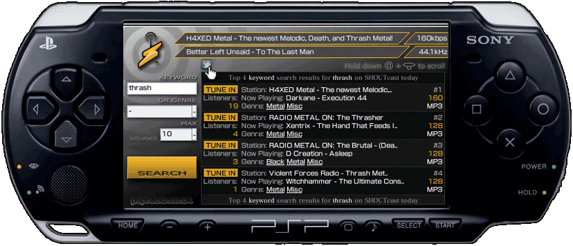 SHOUTcast on PSP